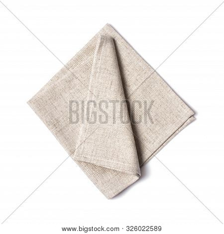 Top View Of Single Folded Light Gray Linen Serviette Isolated On White Background