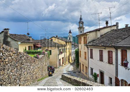 Panoramic view of Compiano. Emilia-Romagna. Italy.