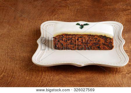 Christmas Fruitcake With Fondant On A Platter