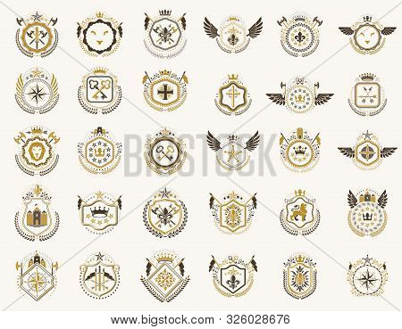 Vintage Heraldic Emblems Vector Big Set, Antique Heraldry Symbolic Badges And Awards Collection, Cla