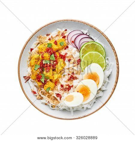 Nan Gyi Thoke Isolated At Wite Background. Nan Gyi Thohk Is Popular Burmese Cuisine Dish With Rice N