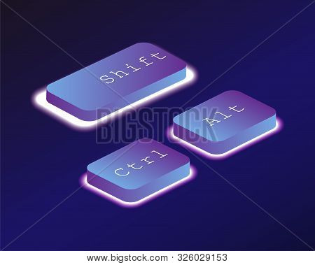 Combination, Ctrl, Alt, Shift. Covered With A Neon Backlit Keyboard Button. Software Development Con