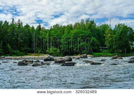 Finland, Kotka: Langinkoski Rapid On The Kumi River In Kotka. Harsh Northern Nature, Place Where The