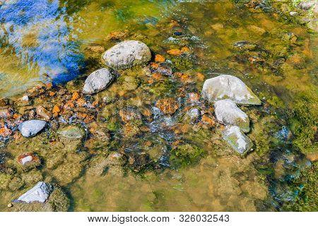 Finland, Kotka: Langinkoski Rapid On The Kumi River, Fast Forest Creek With Granite Boulders.