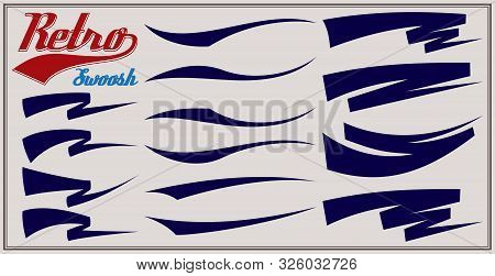 Vector Set Of Texting Tails. Sport Logo Typography Vector Elements. Swirl Swash Stroke Design, Curl