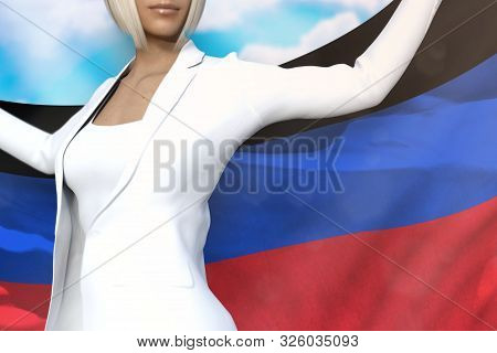 Young Business Lady Is Holding Donetsk Peoples Republic Flag In Her Hands Behind Her On The Blue Sky