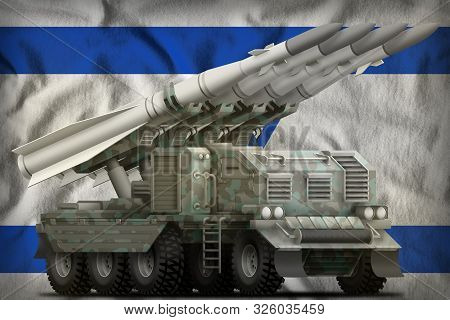 Tactical Short Range Ballistic Missile With Arctic Camouflage On The Israel Flag Background. 3d Illu