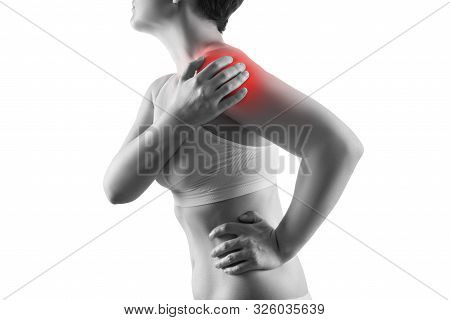 Shoulder Pain, Ache In A Woman's Body, Sports Injury Concept, Isolated On White Background