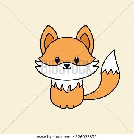 Cute Fox Vector Illustration In Kawaii Style