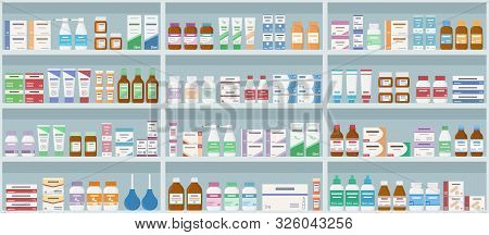 Pharmacy Shelves With Medicines. Concept Of Pharmaceutics And Medication. Seamless Pattern. Vector I