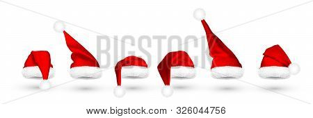 Red Santa Claus Hat Isolated On White Background. Gradient Mesh Santa Claus Cap With Fur. Vector Ill