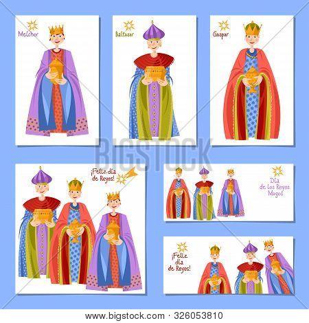 Set Of 6 Universal Christmas Greeting Cards With Children In Biblical Magi Costumes. Feliz Dia De Re