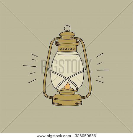 Vector Illustration Or Icon Kerosene Lamp. Oil Lamp Linear Symbol.