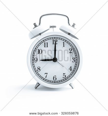 White Alarm Clock, Isolated On White Background, Clock Face. Calm Morning Time, Day Planning Concept