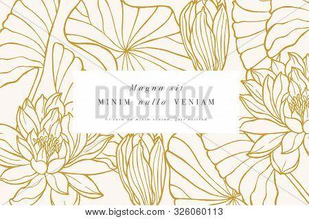 Vintage Card With Lotus Flowers. Floral Wreath. Flower Frame For Flowershop With Label Designs. Flor