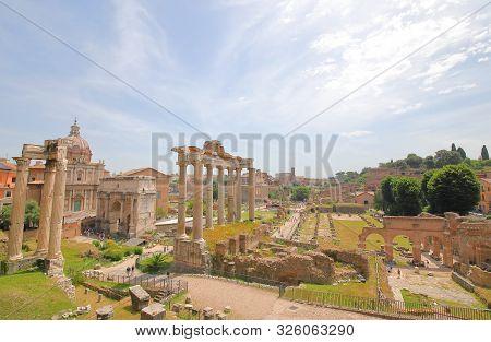 Foro Romano Roman Forum Ruin Cityscape Rome Italy