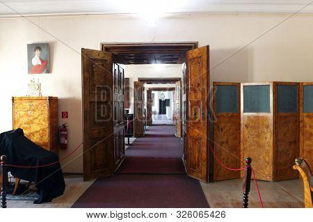 Casta, Slovakia - August 31, 2019: Interior Of Medieval Cerveny Kamen (red Stown) Castle. Corridor O