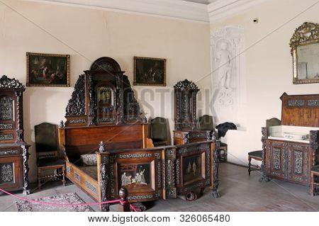 Casta, Slovakia - August 31, 2019: Interior Of Medieval Cerveny Kamen (red Stown) Castle. Bedroom