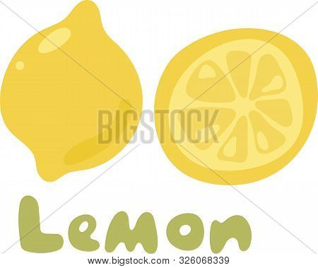 Yellow Lemon Vector Icon Isolated On White Background. Lemon Icon Eps Clip Art. Lemon Slice Vector I