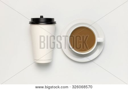 Coffee Or Tea Paper Cup, White Cup With Coffee On Light Gray Background Top View Flat Lay Copy Space