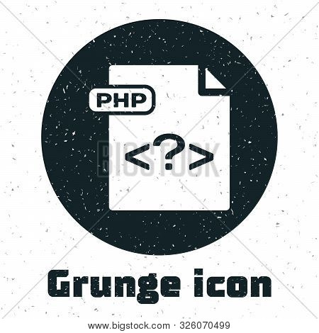 Grunge Php File Document. Download Php Button Icon Isolated On White Background. Php File Symbol. Ve