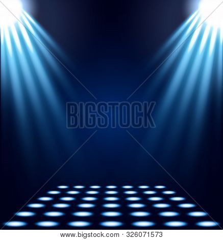 Blue Spotlights Realistic Vector Illustration. Bright Decorative Backdrop With Copy Space. Shiny Vio