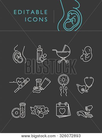 Vector Set Icons Of Obstetrics And Pregnancy. Line Flat Contour, Thin And Linear Design For Adoption