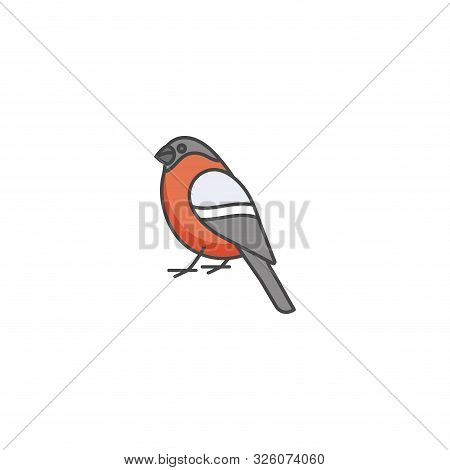 Vector Linear Icon Design Bullfinch On White Background. Bullfinch Colorful Emblems Or Badges.