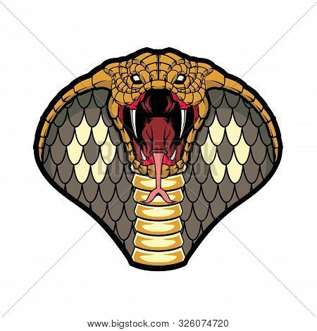 Cobra Head. Vector Illustration For Use As Print, Poster, Sticker, Logo, Tattoo, Emblem And Other.