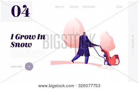 Wintertime Season Website Landing Page. Janitor Male Character In Warm Coat Driving Snowblower Clean