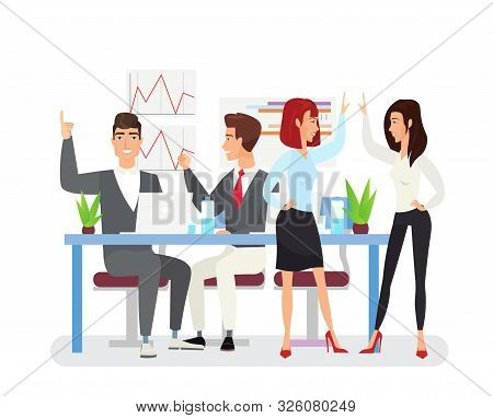 Business Achievements Flat Vector Illustration. Young Coworkers Happy With Successful Project. Top M