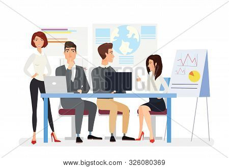 Business Meeting Flat Vector Illustration. Top Managers Discussing Business Plan, Project Presentati