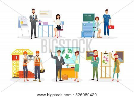 Professions Flat Vector Illustrations Set. Office Workers, Analysts Cartoon Characters. Doctor And E