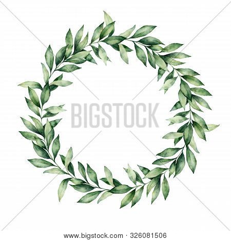 Watercolor Winter Wreath With Eucalyptus Branch. Hand Painted Green Eucalyptus Leaves Composition Is