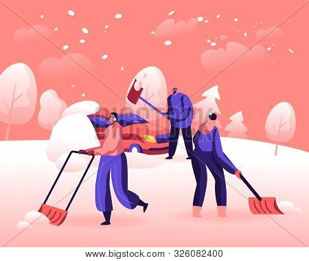 Snow And Ice Removal After Blizzard Concept. Cheerful People Remove Snowdrifts With Shovels From Gro
