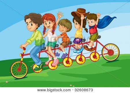 Cartoon of a family riding on a long bicycle