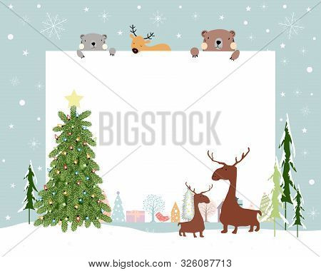 Christmas Background With Copy Space For Text Or Messages With Christmas Decorations Frame, Cute Fla