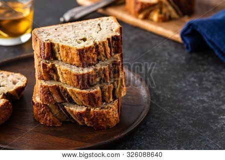 Sliced Banana Bread. Delicious Banana Bread With Chia Seeds. Copy Space.