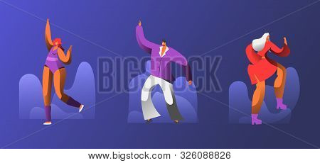 Male And Female Characters Wearing Stylized Costumes Dance At Retro Disco Party. Group Of People Hap