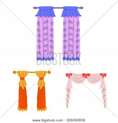 Vector Illustration Of Lambrequin And Drapery Symbol. Collection Of Lambrequin And Decoration Stock