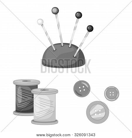 Isolated Object Of Dressmaking And Textile Icon. Collection Of Dressmaking And Handcraft Vector Icon