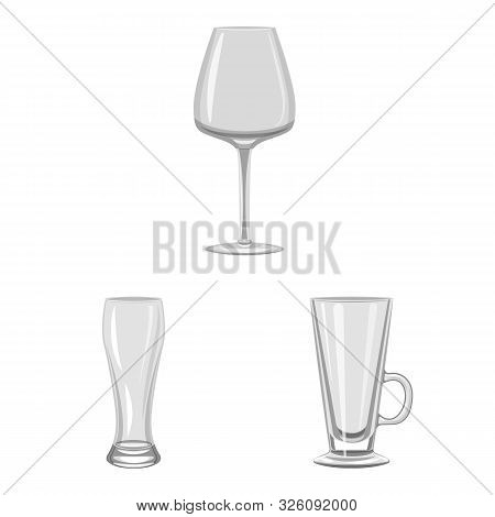 Isolated Object Of Capacity And Glassware Sign. Collection Of Capacity And Restaurant Stock Symbol F
