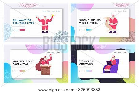 Santa Claus Christmas Greetings Website Landing Page Set. Father Noel With Xmas Attributes Ringing B