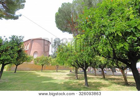 Rome Italy - June 15, 2019: Unidentified People Visit Orange Trees Garden Giardino Degli Aranci Rome