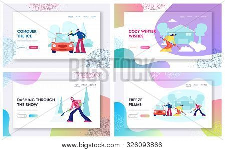 People Cleaning Street And Car From Snow After Blizzard Website Landing Page Set. Wintertime Activit