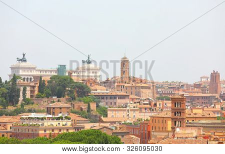 Rome City View From Orange Trees Garden Giardino Degli Aranci Rome Italy