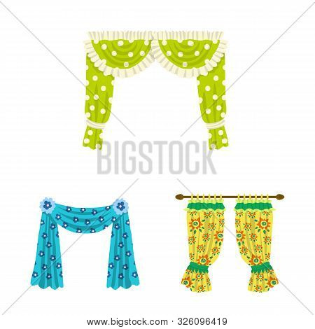 Isolated Object Of Lambrequin And Drapery Icon. Collection Of Lambrequin And Decoration Vector Icon