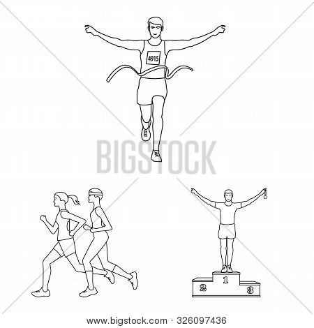 Vector Illustration Of Exercise And Sprinter Sign. Collection Of Exercise And Marathon Vector Icon F