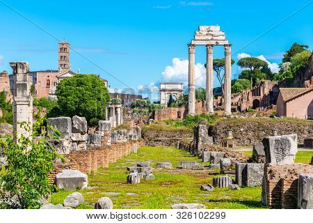 Ancient Ruins Of Basilica Julia And Temple Of Castor And Pollux In Roman Forum, Rome, Italy