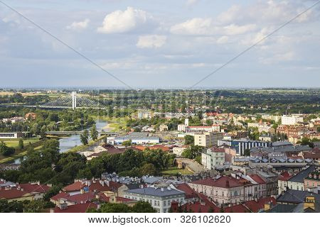 Aerial View Of Przemysl With Old Town, San River, And Gate Bridge, Poland